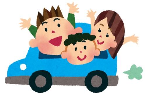 車でドライブする家族のイメージ